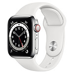 Apple Watch Series 6 Acier inoxydable (Argent - Bracelet Sport Blanc) - Cellular - 40 mm