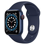 Apple Watch Series 6 Aluminium (Bleu - Bracelet Sport Bleu) - Cellular - 40 mm