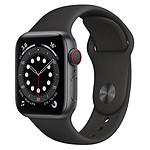 Apple Watch Series 6 Aluminium (Gris sidéral - Bracelet Sport Noir) - Cellular - 40 mm