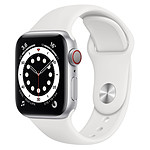Apple Watch Series 6 Aluminium (Argent - Bracelet Sport Blanc) - Cellular - 44 mm