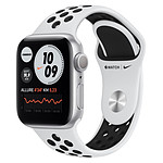 Apple Watch Nike Series 6 Aluminium (Argent - Bracelet Sport Platine Pur / Noir) - GPS - 40 mm