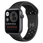 Apple Watch Nike Series 6 Aluminium (Gris sidéral - Bracelet Sport Noir) - GPS - 44 mm