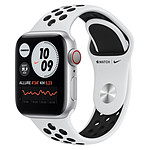 Apple Watch Nike Series 6 Aluminium (Argent - Bracelet Sport Platine Pur / Noir) - Cellular - 40 mm