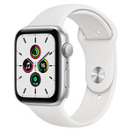 Apple Watch SE Aluminium (Argent - Bracelet Sport Blanc) - GPS - 44 mm
