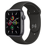 Apple Watch SE Aluminium (Gris sidéral - Bracelet Sport Noir) - GPS - 44 mm