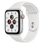 Apple Watch SE Aluminium (Argent - Bracelet Sport Blanc) - Cellular - 44 mm