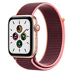 Apple Watch SE Aluminium (Or - Bracelet Sport Prune) - Cellular - 44 mm