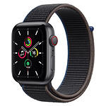 Apple Watch SE Aluminium (Gris sidéral - Bracelet Sport Charbon) - Cellular - 44 mm