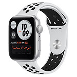 Apple Watch Nike SE Aluminium (Argent - Bracelet Sport Platine Pur / Noir) - GPS - 44 mm
