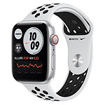 Apple Watch Nike SE Aluminium (Argent - Bracelet Sport Platine Pur / Noir) - Cellular - 44 mm