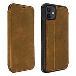 Akashi Etui folio cuir (marron) - Apple iPhone 12 | 12 Pro