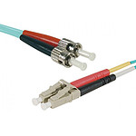 Jarretière optique duplex multimode 3mm OM3 LC-UPC/ST-UPC - 1 mètre