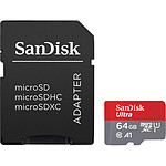 SanDisk Ultra microSD UHS-I U1 64 Go + Adaptateur SD