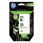 HP Combo Pack 21, 22 Noir, 3 couleurs SD367AE