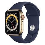 Apple Watch Series 6 Acier inoxydable (Or - Bracelet Sport Bleu) - Cellular - 40 mm