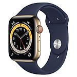 Apple Watch Series 6 Acier inoxydable (Or - Bracelet Sport Bleu) - Cellular - 44 mm