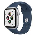 Apple Watch SE Aluminium (Argent - Bracelet Sport Bleu Abysse) - GPS - 44 mm