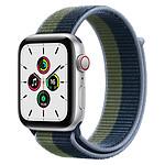 Apple Watch SE Aluminium (Argent - Bracelet Sport Bleu Abysse / Vert Sauvage) - Cellular - 44 mm