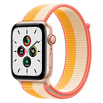 Apple Watch SE Aluminium (Or - Bracelet Sport Jaune Indien / Blanc) - Cellular - 44 mm