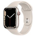 Apple Watch Series 7 Aluminium (Lumière stellaire- Bracelet Sport Lumière stellaire) - Cellular - 45 mm