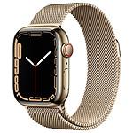 Apple Watch Series 7 Acier inoxydable (Or - Bracelet Milanais Or) - Cellular - 41 mm