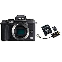 Canon EOS M5 Noir (boitier nu) + Carte microSD Kingston 16 GO + Adaptateur SD et USB