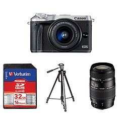Canon EOS M6 Argent + EF-M 15-45 mm IS STM + Carte SD Verbatim 32 GO + Trépied TS290 + Tamron AF 70-300 MM F/4-5,6 DI LD IF Macro 1/2 Canon