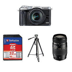 Canon EOS M6 Argent + EF-M 18-150 mm IS STM + Carte SD Verbatim 32 GO + Trépied TS290 + Tamron AF 70-300 MM F/4-5,6 DI LD IF Macro 1/2 Canon