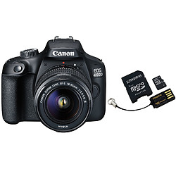 Canon EOS 4000D + 18-55mm IS Noir + Carte microSD Kingston 16 GO + Adaptateur SD et USB