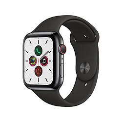 Apple Watch Series 5 Aluminium (Gris- Bracelet Sport Noir) - Cellular - 44 mm