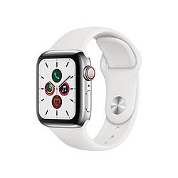 Apple Watch Series 5 Acier (Argent - Bracelet Sport Blanc) - Cellular - 40 mm