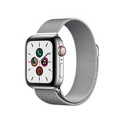 Apple Watch Series 5 Acier (Argent - Bracelet Milanais Argent) - Cellular - 40 mm