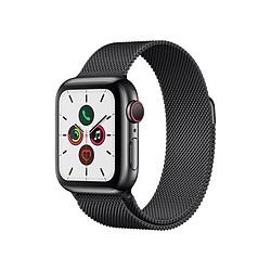 Apple Watch Series 5 Acier (Noir - Bracelet Milanais Noir) - Cellular - 40 mm