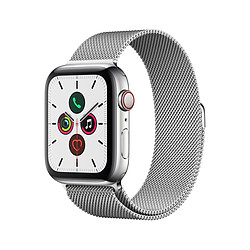 Apple Watch Series 5 Acier (Argent - Bracelet Milanais Argent) - Cellular - 44 mm