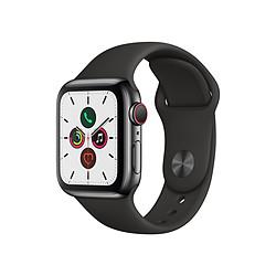 Apple Watch Series 5 Acier (Noir - Bracelet Sport Noir) - Cellular - 40 mm