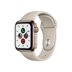 Apple Watch Series 5 Acier (Or - Bracelet Sport Gris Sable) - Cellular - 40 mm