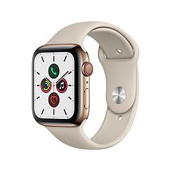 Apple Watch Series 5 Acier (Or - Bracelet Sport Gris Sable) - Cellular - 44 mm
