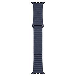 Apple Bracelet en cuir bleu profond de 44 mm - Medium