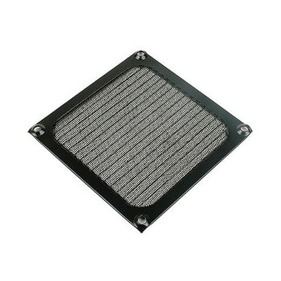 Grille ventilateur PC  Filtre anti-poussière aluminium noir - 120 mm