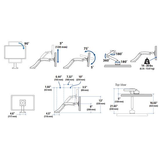 Bras & support écran PC Ergotron Bras articulé fixation bureau MX 45-214-026 - Autre vue