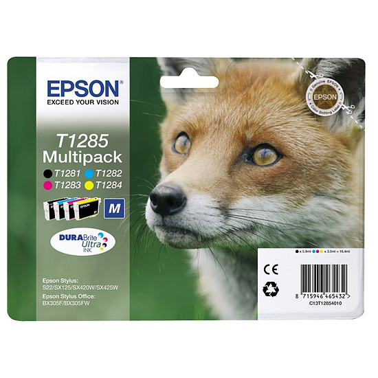 Cartouche imprimante Epson T1285 Multipack BK/C/M/J - C13T12854010