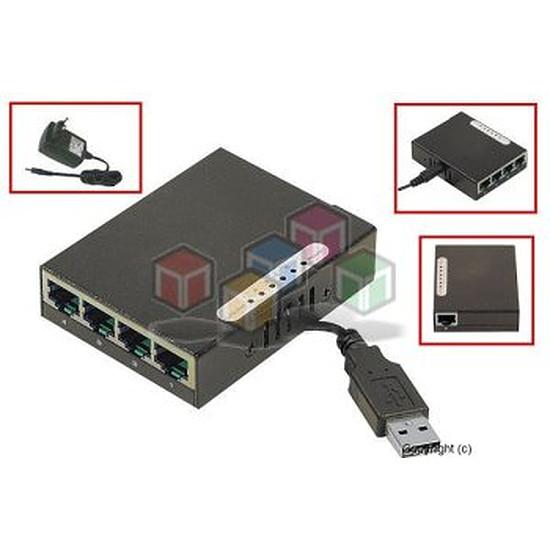 Switch et Commutateur Mini switch 4 ports Gb Ethernet alimenté en USB - Autre vue