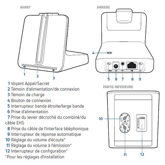 Casque téléphonie Plantronics CS540A + décroché HL10 - Autre vue