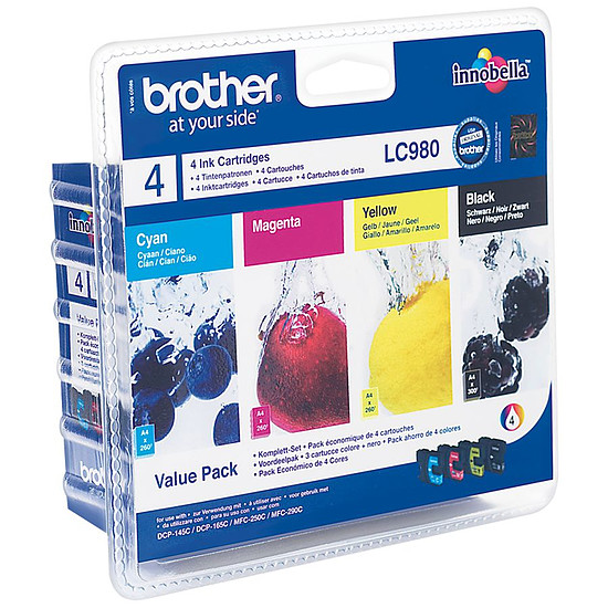 Cartouche imprimante Brother LC980BK/C/M/Y - Pack 4 couleurs