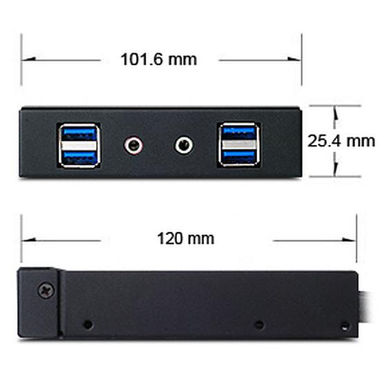 """Filtre anti-poussière Silverstone Façade 3,5"""" USB 3.0 et audio - FP32B-E - Noir - Autre vue"""