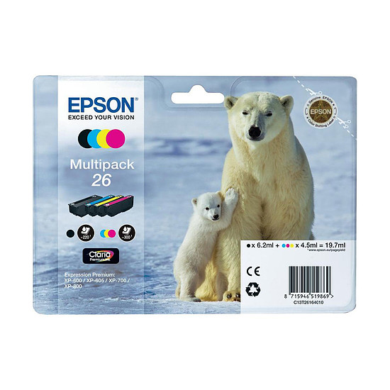Cartouche imprimante Epson T2616 Multipack C/M/J/N - C13T26164010