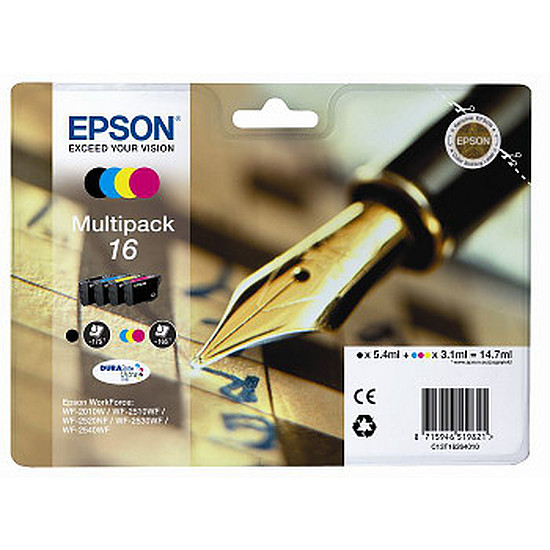 Cartouche imprimante Epson T1626 Multipack BK/C/M/J - C13T16264010