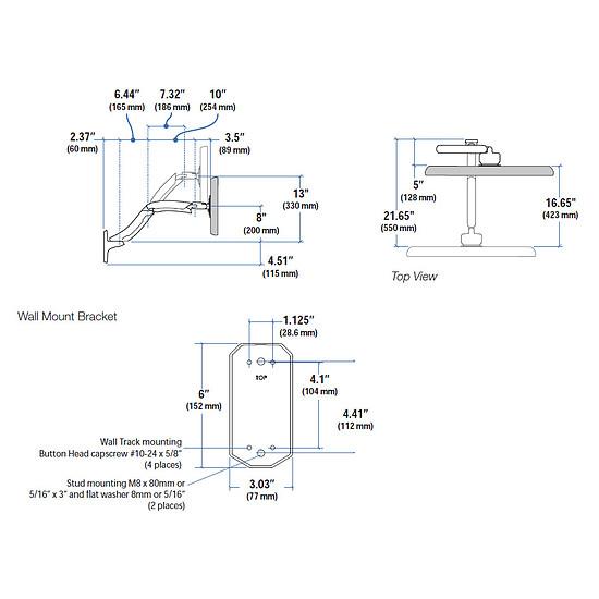 Bras & support écran PC Ergotron Bras fixation murale MX 45-228-026 - Autre vue