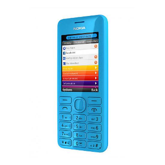 Smartphone et téléphone mobile Nokia Asha 206 - double SIM (bleu)