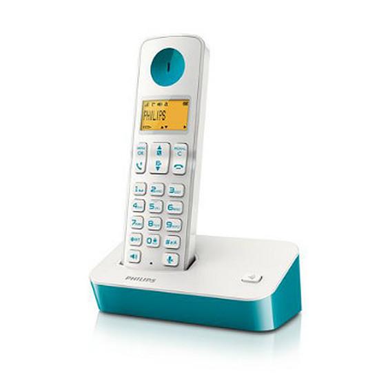 Téléphone fixe sans fil Philips D2001WT (bleu)